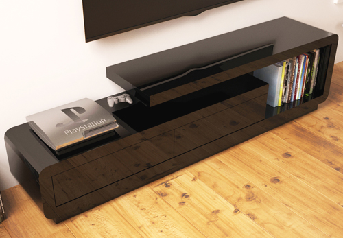 Evoque high gloss black TV unit corner
