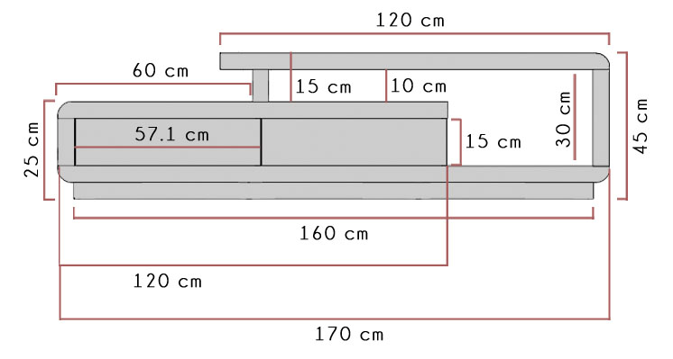 Evoque TV unit dimensions