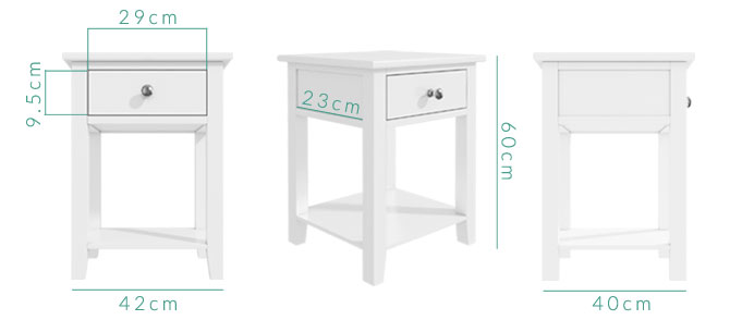 Harper bedside table dimensions
