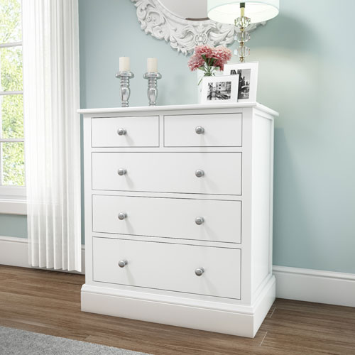 Grade a2 harper solid wood 2 3 chest of drawers in white for Furniture 123 code