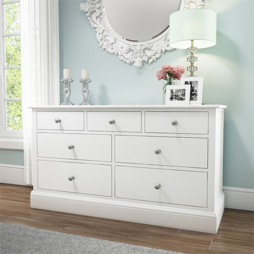 Harper white solid wood 4 3 wide chest of drawers for Furniture 123 code