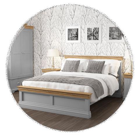 Grade a1 loire grey and oak kingsize bed frame for Furniture 123 code