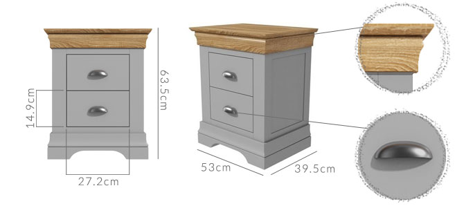 Loire bedsise table dimensions