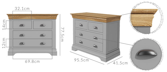 Loire 2+2 chest of drawers dimensions