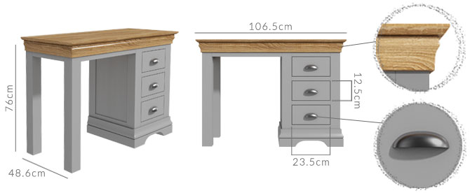Loire dressing table dimensions