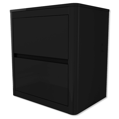 Lexi black high gloss 2 drawer bedside table furniture123 for Furniture 123 code