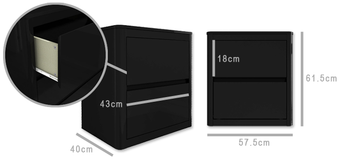 Lexi Black bedside table dimensions