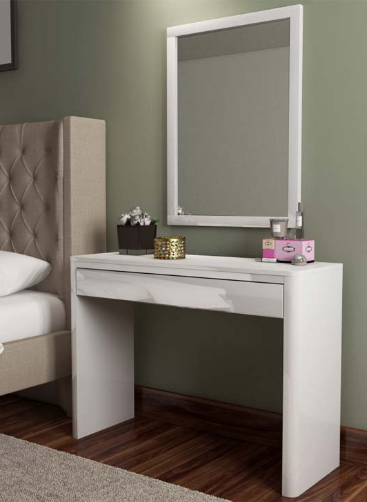 Lexi white high gloss dressing table furniture123 for Wide dressing table