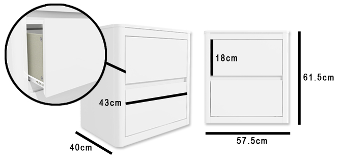 Lexi white bedside table dimensions