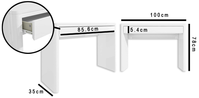 Lexi white dressing table dimensions