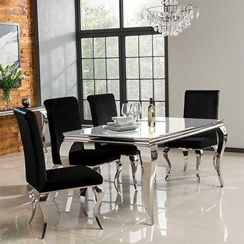 Louis 160cm Mirrored Dining Table With White Glass Seats