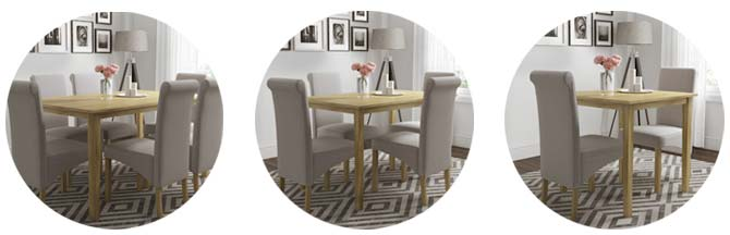 New Haven dining table sizes