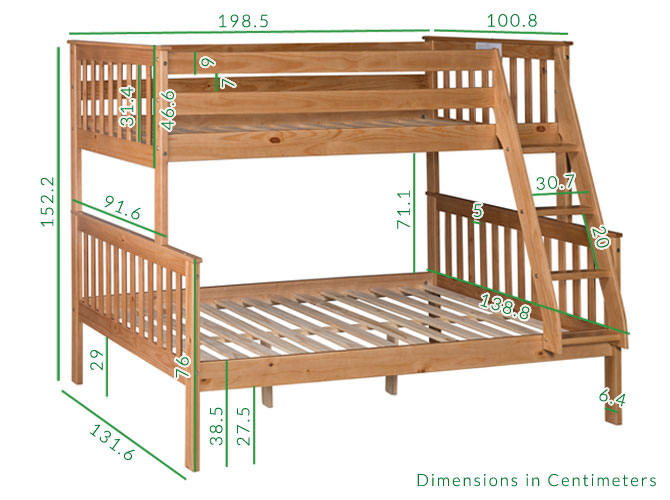 Oxford pine double bunk dimensions