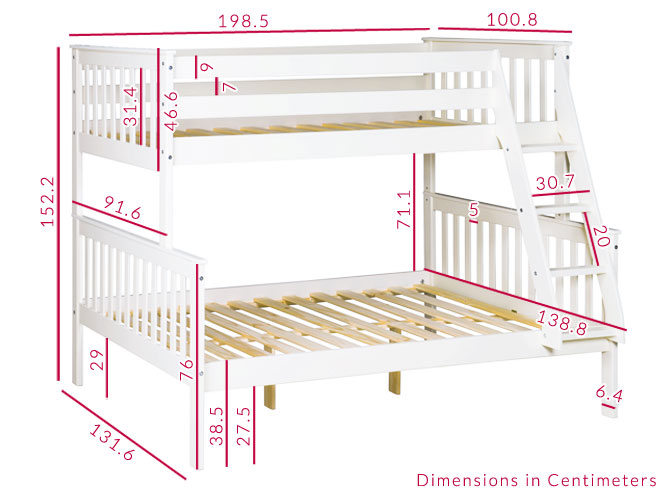 Oxford white double bunk dimensions