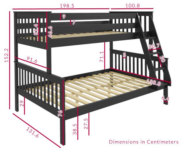 Grade A1 Oxford Triple Bunk Bed In Dark Grey Small Double