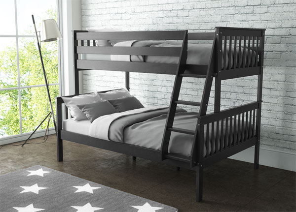 New Oxford Triple Bunk Bed Sleeper In Dark Grey Small Double