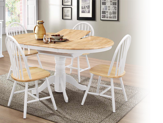 Rhode island round extending dining table with windsor