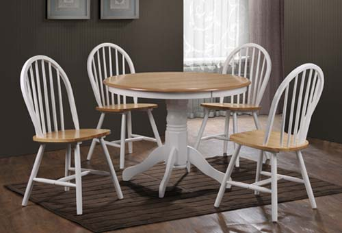 Round solid wood dining table ebay