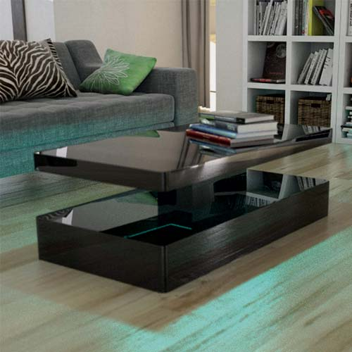 Contemporary Cappuccino Connect It Computer: Tiffany Black High Gloss Rectangular Coffee Table With LED
