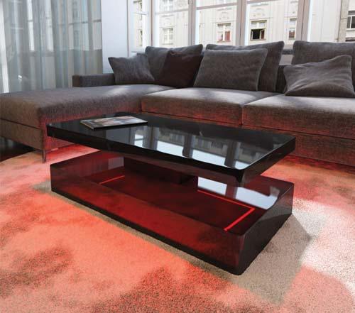 Tiffany Black High Gloss Rectangular Coffee Table With LED