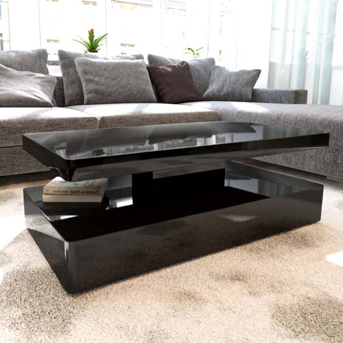 Tiffany White High Gloss Square Coffee Table Furniture: Tiffany Black High Gloss Rectangular Coffee Table With LED