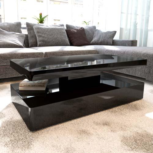 Rectangle High Gloss White Coffee Table With Led Lighting: Tiffany Black High Gloss Rectangular Coffee Table With LED