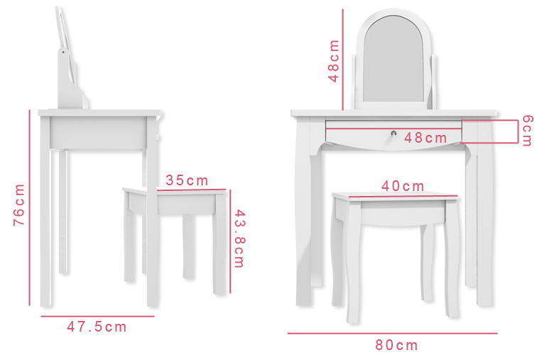 Victoria Girls White Dressing Table With Stool & Mirror ...