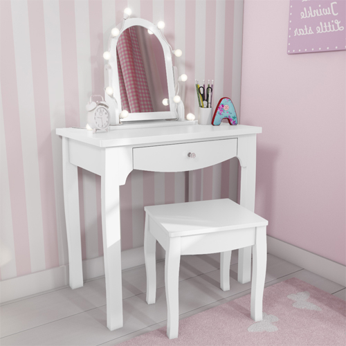 White Solid Wood Vanity Dressing Table With Stool And