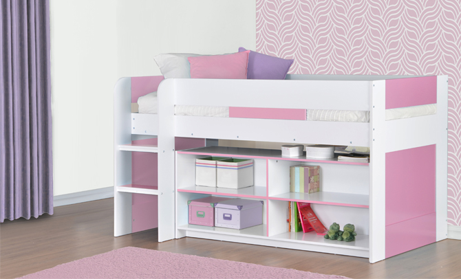 Cabin Bed Mid Sleeper Kids Bed 3ft Single with Ladder Pink ...