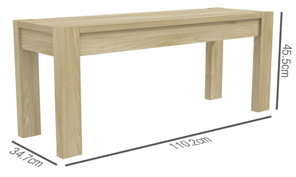 Bailey Dining Bench Dimensions