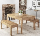Bench dining table and chairs set