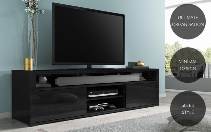 Modern High Gloss Black Tv Unit With Soundbar Shelf Media Storage