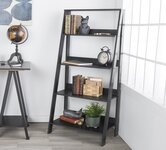 Black bookcases and shelving units.