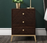 Brown 3 Drawer Bedside Table