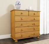 Brown Pine Chest of Drawers.