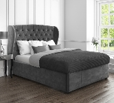 Grey Double Velvet Beds