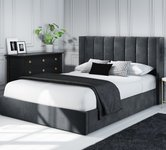 Double Grey Velvet Beds
