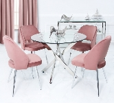 Glass Round Dining Table and Chairs