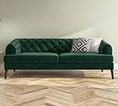 Green 3 Seater Velvet Sofas.