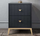 Grey 2 Drawers Bedside Table