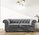 Grey 2 Seater Velvet Sofas.