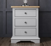 Grey 3 Drawer Bedside Table