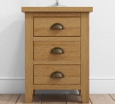 Oak 3 Drawer Bedside Table