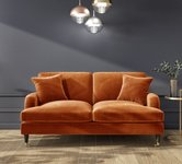 Orange 2 Seater Velvet Sofas.