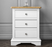 White 3 Drawer Bedside Table