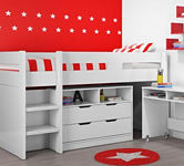 White cabin beds category tile.