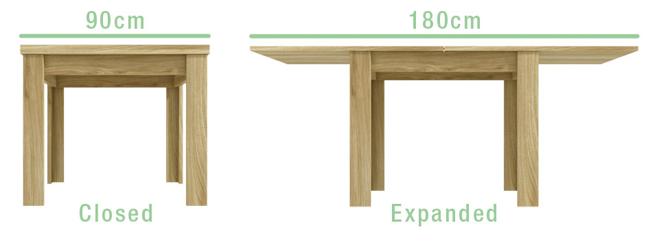 New Town Flip-Top Dining Table dimensions