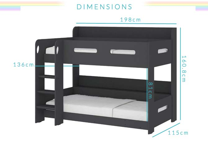 Sky bunk bed in dark grey ladder can be fitted either for Furniture 123 code
