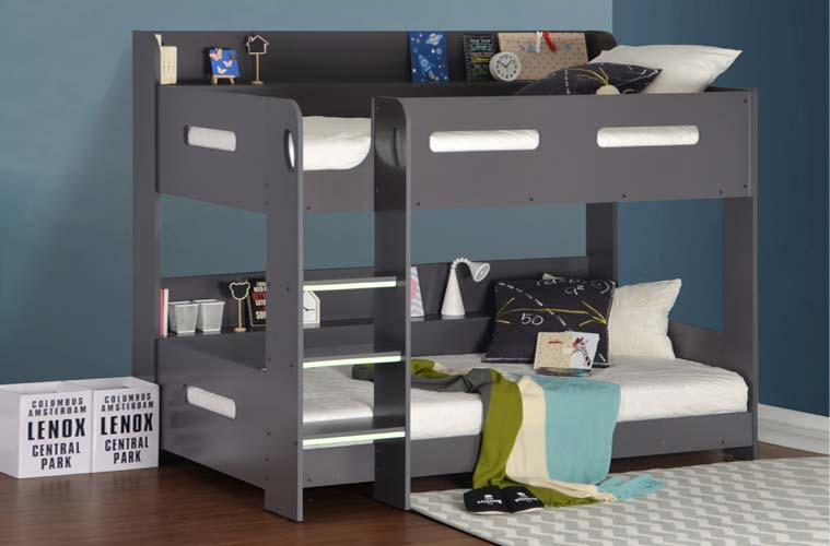 Grey Bunk Bed with Storage Ladder Can Be Fitted Either