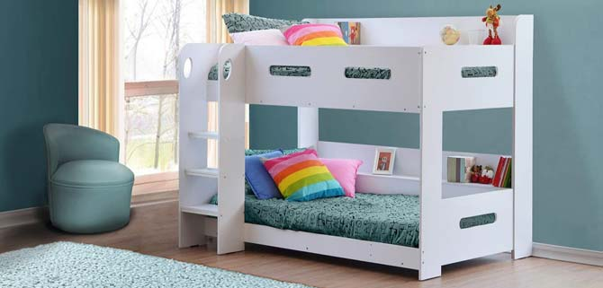 Sky White Bunk Bed Ladder Can Be Fitted Either Side